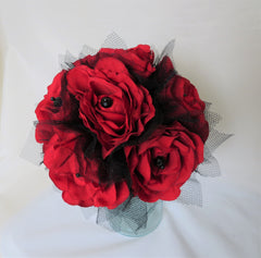 red rose and black gothic bridal wedding posy bouquet