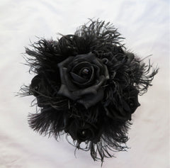 black rose and feather gothic bridal wedding posy  bouquet