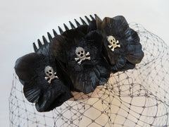 black flower and skull veil