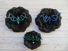 beaded bat halloween flower brooches and hair clips