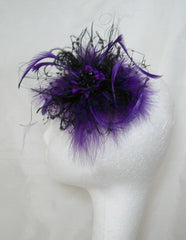 Black & Purple Feather & Veil Betsy Fascinator Hair Clip by Gothic Diva Designs