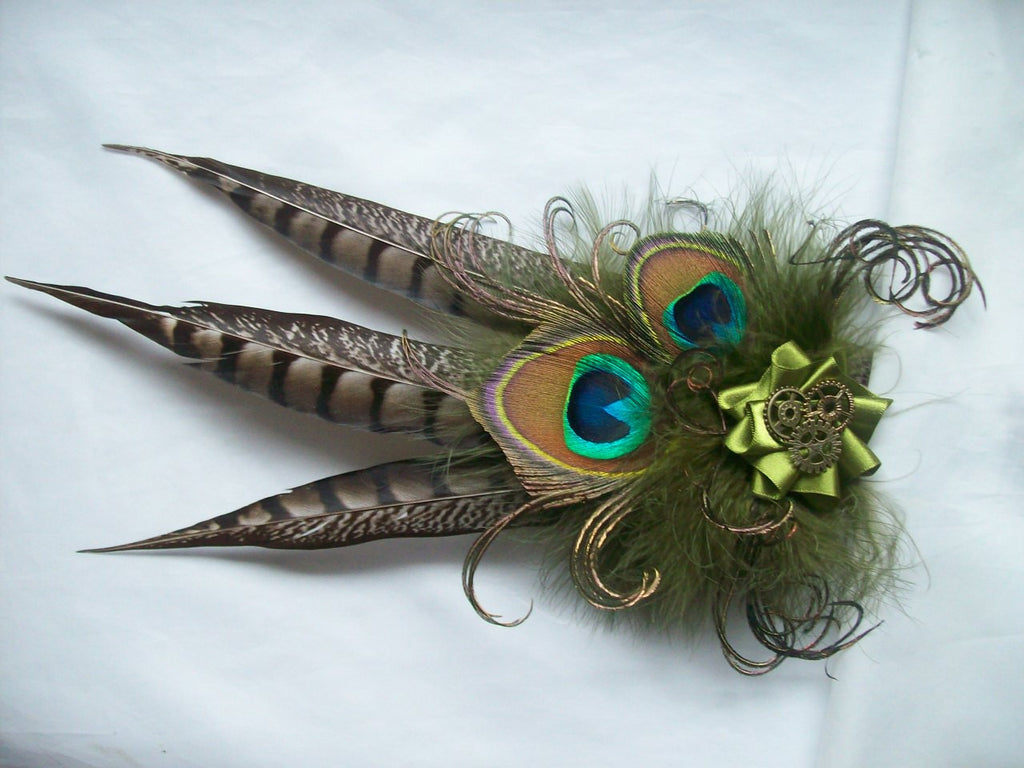 Olive Green and Brown Steampunk Fascinator- Rustic Pheasant and Peacock Feather with Cogs Wedding Ascot Derby Fascinator - Made to Order