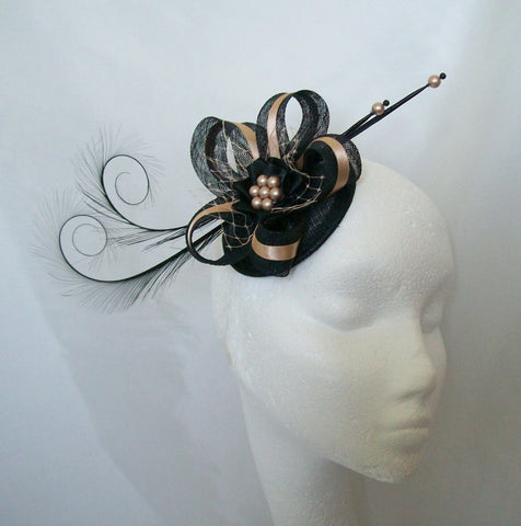 Black & Latte Nude Pheasant Curl Feather Sinamay and Pearl Isabel Gothic Wedding Fascinator Mini Hat - Made to Order