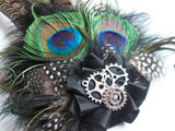 Black Steampunk Fascinator- Natural Brown Pheasant and Peacock Feather with Cogs Wedding Ascot Derby Percher Fascinator - Made to O
