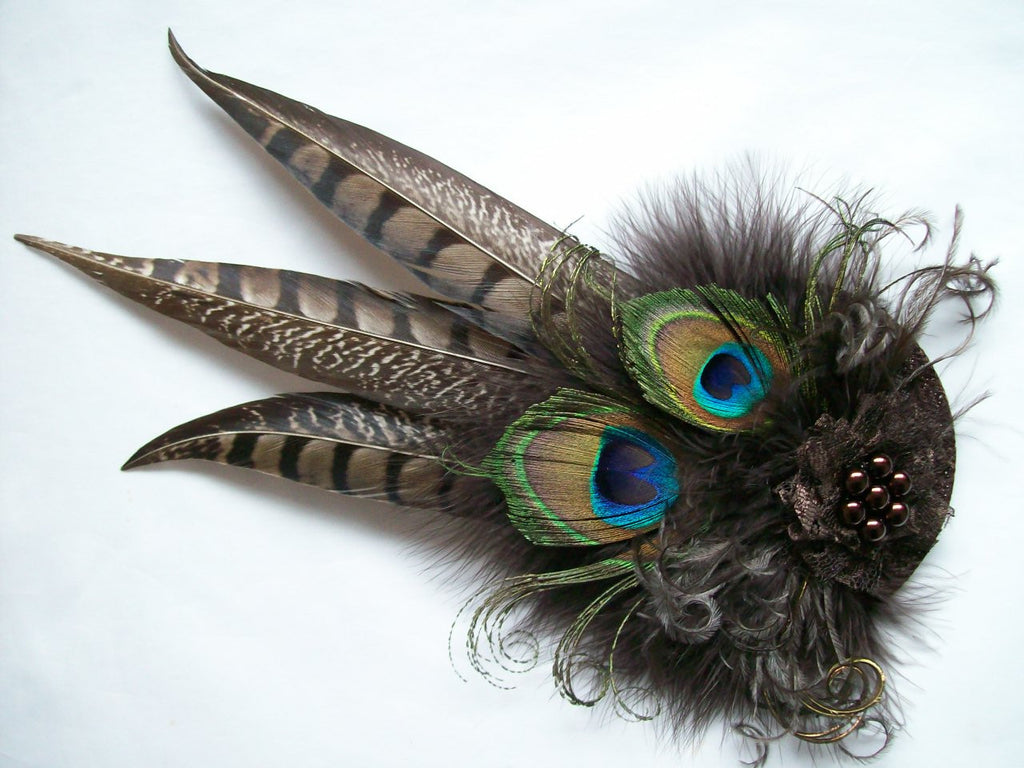 Chocolate Brown Rustic Pheasant and Peacock Feather Steampunk Wedding Fascinator Percher Hat