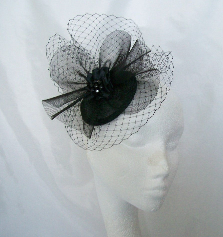 Black Elizabeth -Elegant Veil Crinoline & Rhinestone Pearl Sinamay Wedding Fascinator Mini Hat - Gothic Diva Wedding Designs