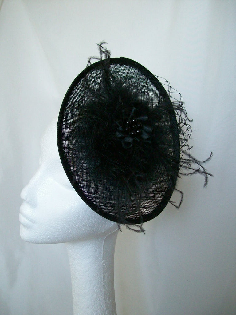Black Gothic Hat - Upback Saucer Fluff Feather Veil & Pearl Goth Wedding Vintage Fascinator - Gothic Diva Wedding Designs