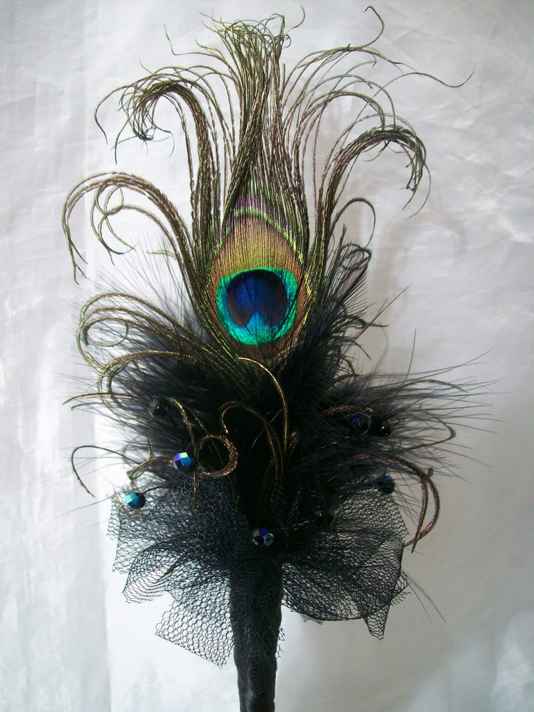 Black Peacock Feather & Crystal Pearl Fairy Wand Gothic Wedding -Made to Order - Gothic Diva Wedding Designs