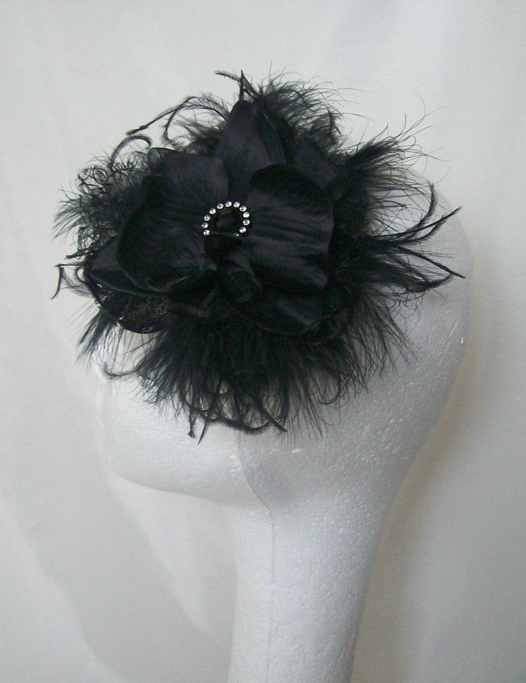 Black Feather and Orchid Flower Gothic Style Fascinator Clip Headpiece - Wedding Goth Victorian Vintage