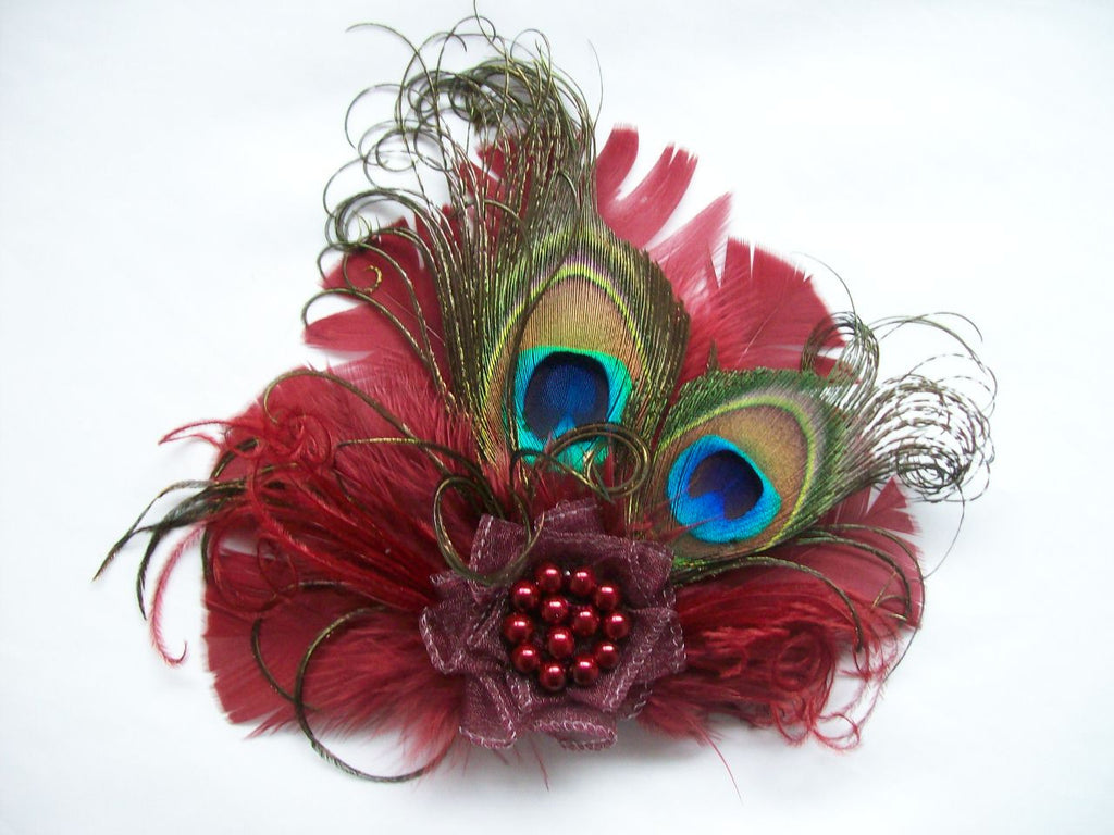Small & Dainty Burgundy Wine Marsala Peacock Feather and Pearl Vintage Mini Hair Clip Fascinator - Ready Made
