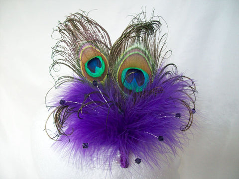 Purple Victoriana - Peacock Feather & Crystal Burlesque Wedding Fascinator - Gothic Diva Wedding Designs