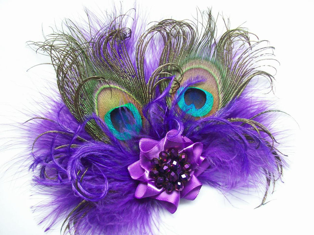 Deep Purple Burlesque Style Victoriana Peacock Feather Fascinator Hair Clip - Ready Made