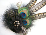 Black & Mink Rustic Pheasant and Peacock Feather Steampunk Wedding Fascinator Percher Hat - Gothic Diva Wedding Designs
