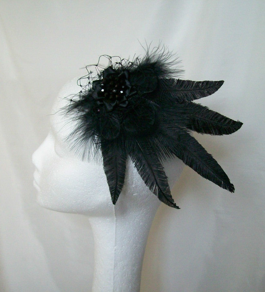 Black Mary - Vintage Gothic Style Ostrich Feather Lace & Crystal Hair Clip Fascinator