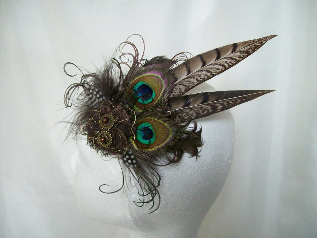Shades of Chocolate Natural Brown Rustic Pheasant and Peacock Feather Steampunk Mini Minerva Fascinator Hair Clip - Ready Made