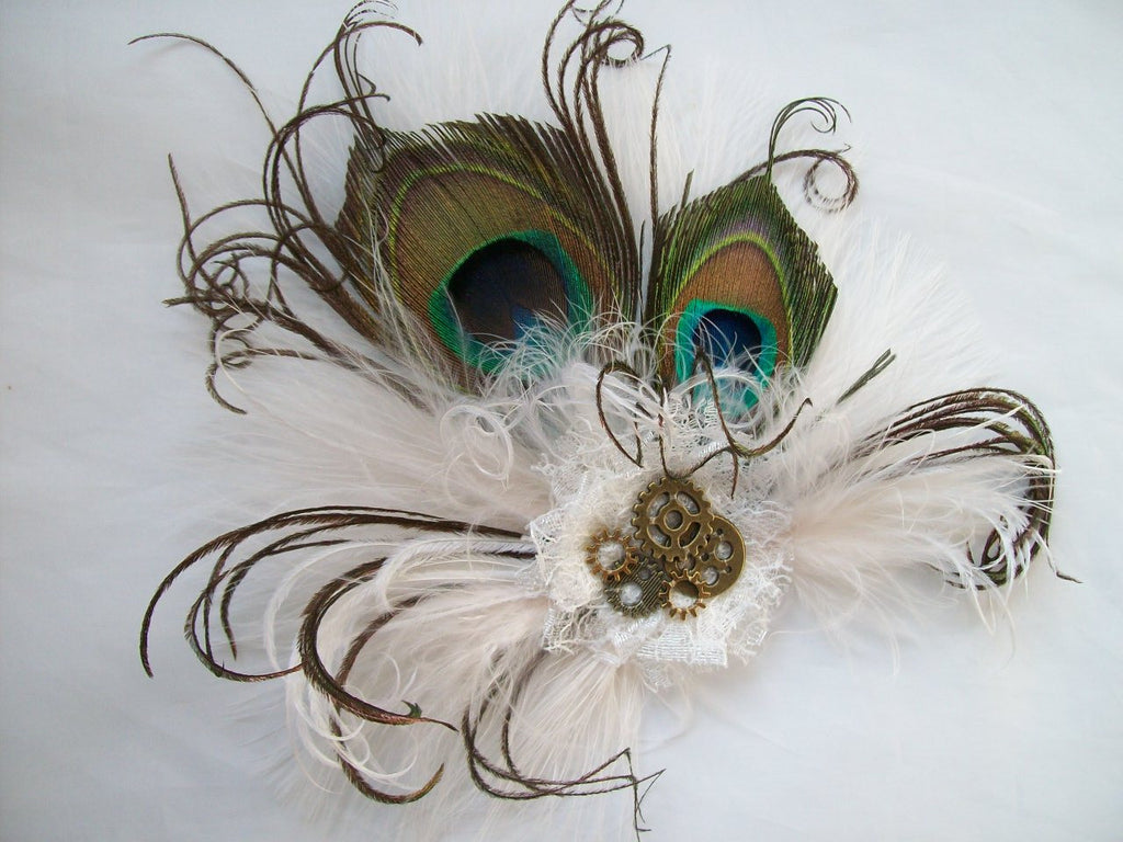 Small and Dainty Ivory Off White Steampunk Peacock Feather & Brass Cogs Bride Bridal Mini Fascinator Hair Clip - Ready Made