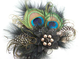 Black and Mink Rustic Peacock Feather & Pearl Vintage Mini Fascinator Hair Clip - Ready Made - Gothic Diva Wedding Designs