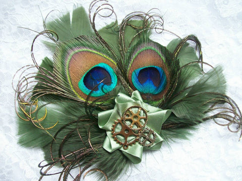 Small and Dainty Moss Green Olive Khaki Peacock Feather and Brass Cogs Steampunk Mini Fascinator Hair Hat Clip- Ready Made