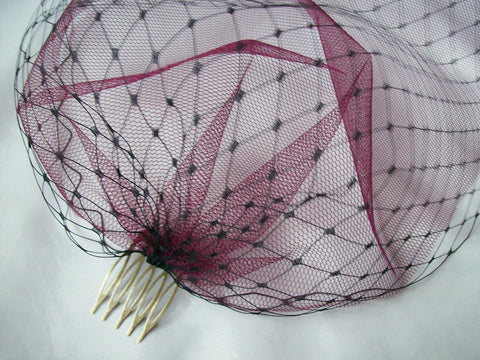 Black Merry Widow Veiling and Burgundy Claret Tulle Double Bandeau Birdcage Full Face Gothic Bride Bridal Veil - Ready Made