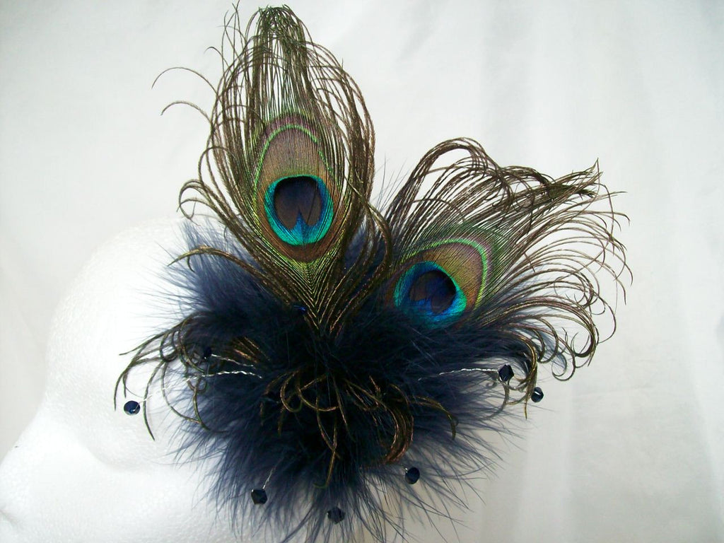 Midnight Navy Blue Victoriana - Peacock Feather & Crystal Burlesque Wedding Fascinator - Gothic Diva Wedding Designs