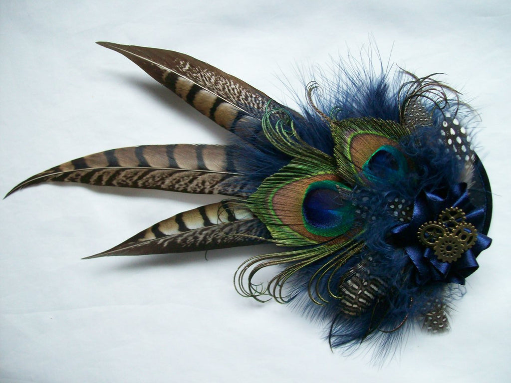 Navy Blue & Mink Nude Brown Rustic Steampunk Pheasant and Peacock Feather and Brass Cogs Wedding Fascinator - Gothic Diva Wedding Designs