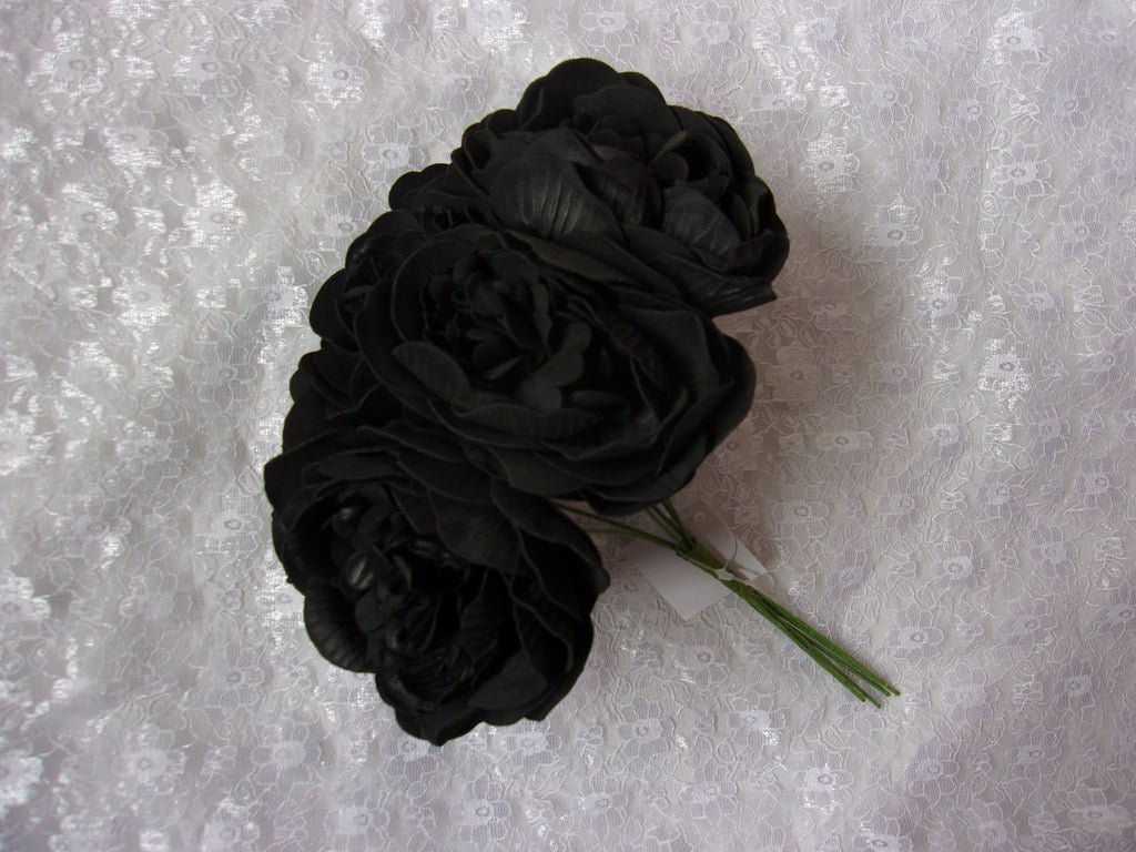 Black Foam Peony Bunch of 6