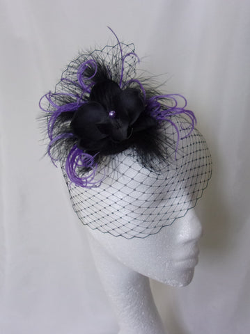 165a6ba39a5 ... Small Vintage Style Black   Ultraviolet Purple Lilac Blusher Veil  Orchid Wedding Gothic Victorian Steampunk Mini ...