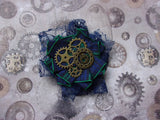 Navy Blue Steampunk Brooch - Lace Fabric with Black Watch Scottish Tartan Plaid and Brass Cogs - Burns Night - Ready Made