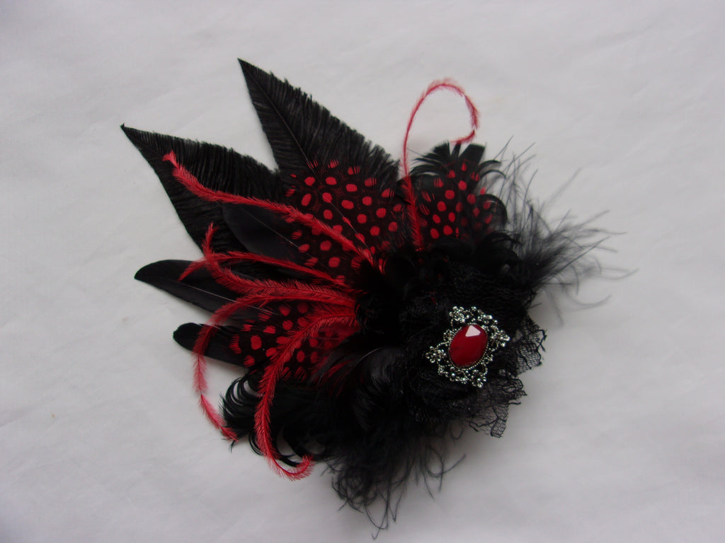 Black and Scarlet Red Feather Hair Clip Small Vintage Gothic Hair Clip Ostrich Lace & Antique Cabochon Headpiece- Wedding -Ready Made