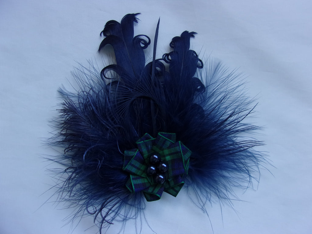Navy Blue and Black Watch Tartan Feather Brooch with Pearls Corsage Buttonhole - Burns Night Scottish Highlands Wedding