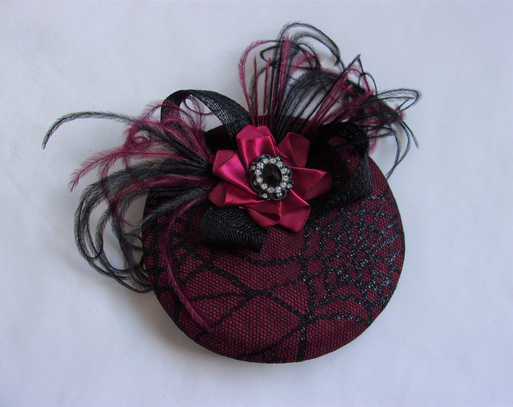 Black & Burgundy Cobweb Cocktail Percher Hat Fascinator Feather and Crystal Mini Fascinator - Gothic Halloween Wedding- Ready Made