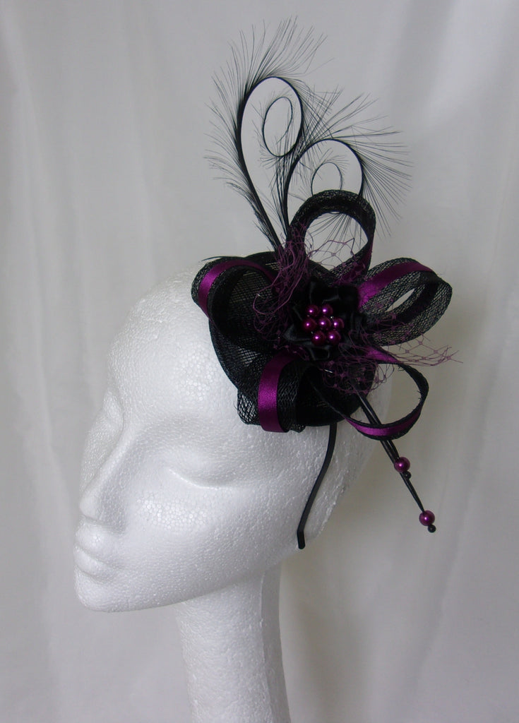 7327211c4f9 Black   Amethyst Plum Pheasant Curl Feather Sinamay and Pearl Wedding Fascinator  Mini Hat Gothic Steampunk