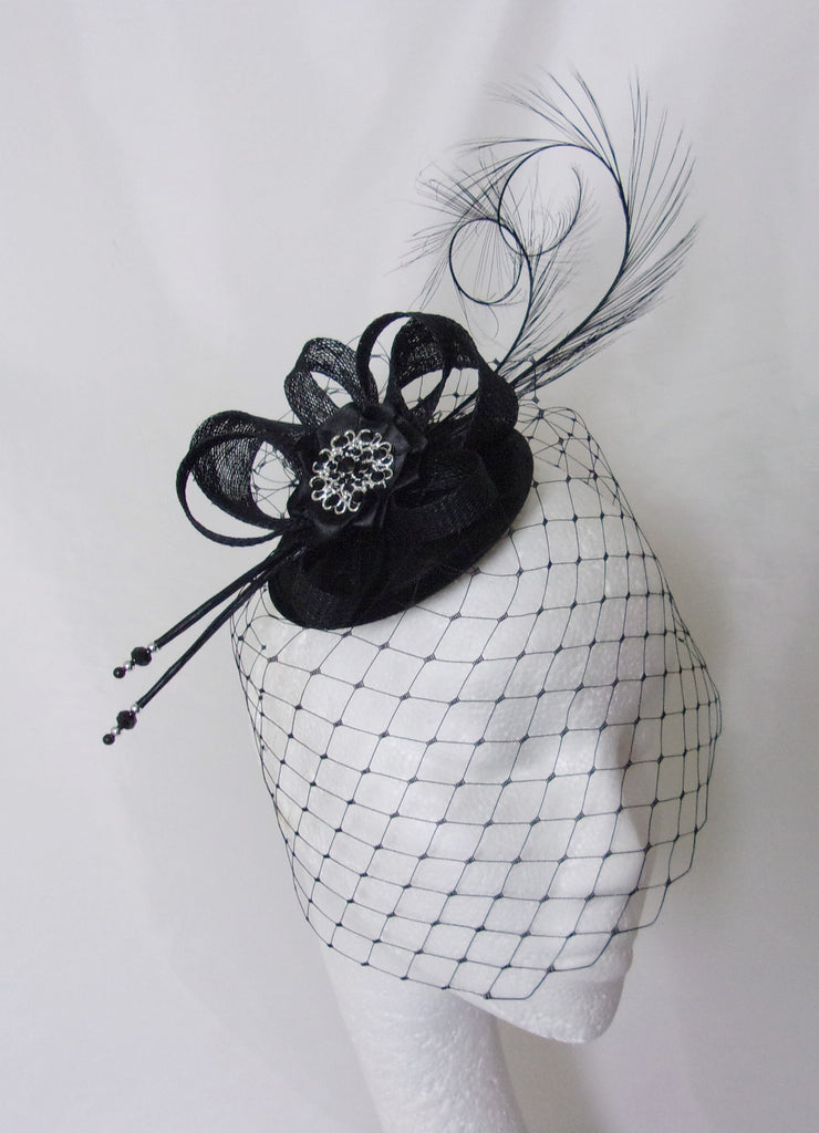 Black Gothic Fascinator with Blusher Veil Pheasant Curl Feathers Sinamay & Rhinestone Brooch Wedding Mini Hat - Made to Order