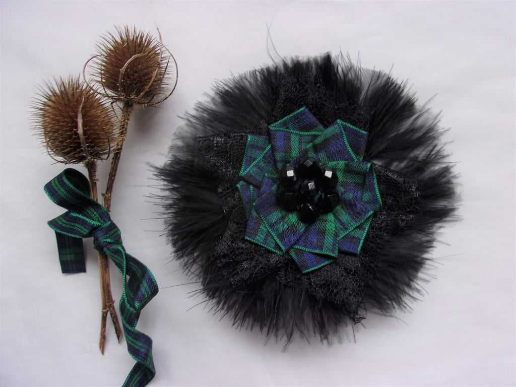 Black Tartan Feather and Lace Brooch Black Watch Crystal Corsage Bridal Pin Highlands Burns Night Scottish Wedding - Ready Made