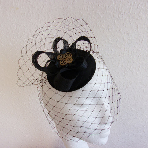 Black Mini Sinamay Steampunk Percher Fascinator Headpiece Hat with Merry Widow Blusher Veil and Brass or Silver Watch Cogs - Made to Order