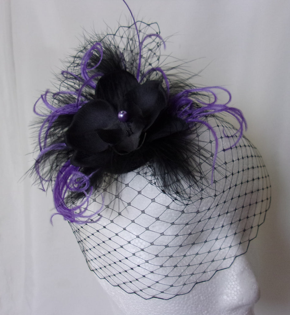1c36470280c Small Vintage Style Black   Ultraviolet Purple Lilac Blusher Veil Orchid  Wedding Gothic Victorian Steampunk Mini