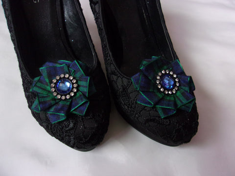 Black Watch Tartan Shoe Clips, Green and Black Shoe Clip Shoeclips Plaid Blackwatch Ruffles with Pearls Highland Clan