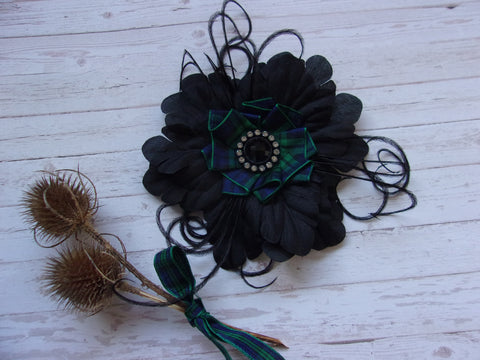 Black Watch Tartan Plaid Black Flower Crystal Brooch Corsage Buttonhole Wedding