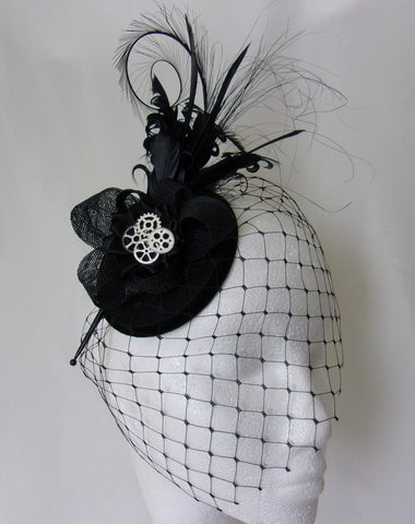 Black Rosalind - Mixed Feather Plume & Silver Bronze Steampunk Vintage Percher Fascinator Mini Hat