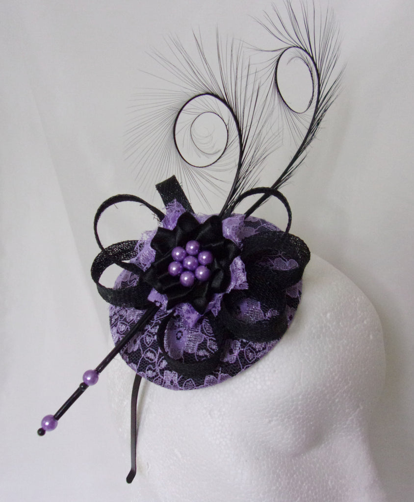 Black & Lilac Lavender Mauve Lace Covered Isadora Wedding Fascinator Mini Hat Headpiece Curl Feathers and Pearls - Made To Order