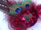 Dark Burgundy Wine Marsala Rustic Pheasant and Peacock Feather Steampunk Wedding Fascinator Percher Headpiece with Brass Cogs -Made to Order