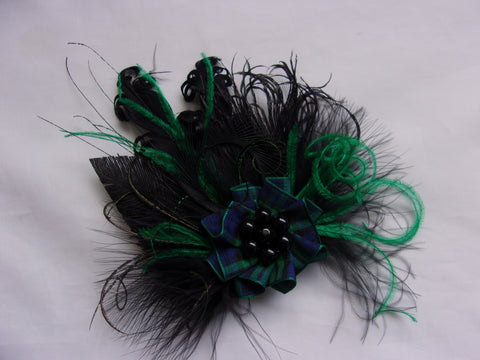 Black and Emerald Tartan Brooch - Rustic Feather Blackwatch Tartan Feathered Corsage Buttonhole Boutonniere Hairclip - Burns Night Scottish