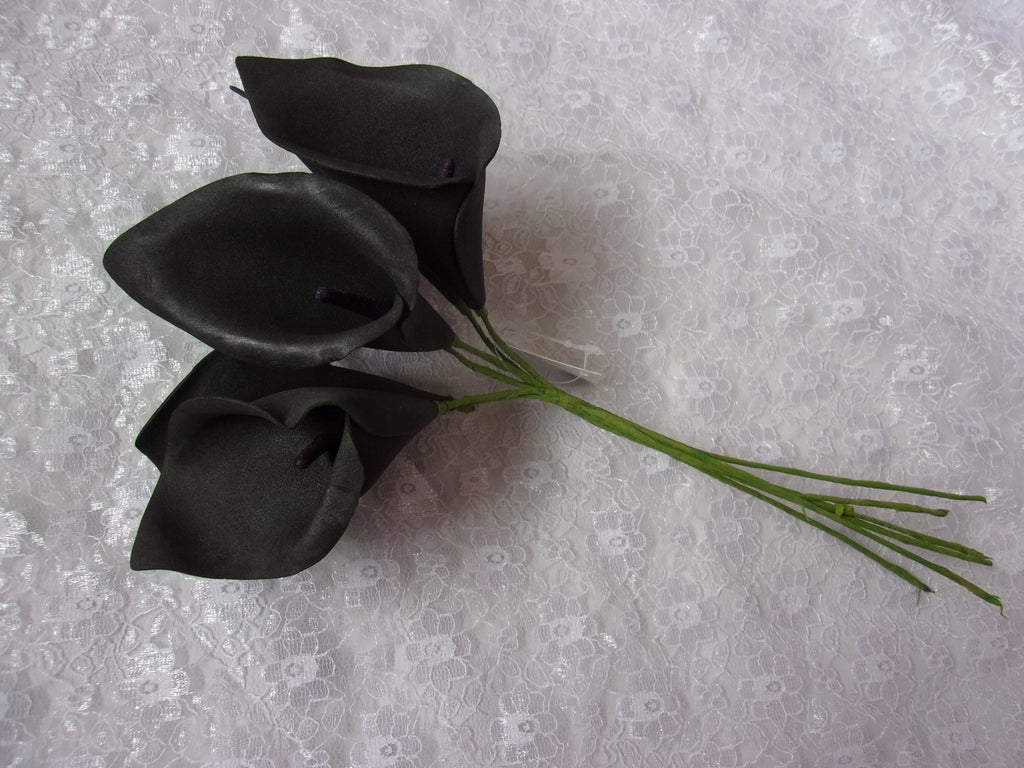 black calla lilies, black lily, small black roses, foam lilies, black foam calla lilies black flowers for wedding