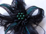 Black Sinamay Loop with Blackwatch Tartan Mini Gothic Fascinator Hair Clip Headpiece with Crystals or Pearls - Scottish Burns Night - Made to Order
