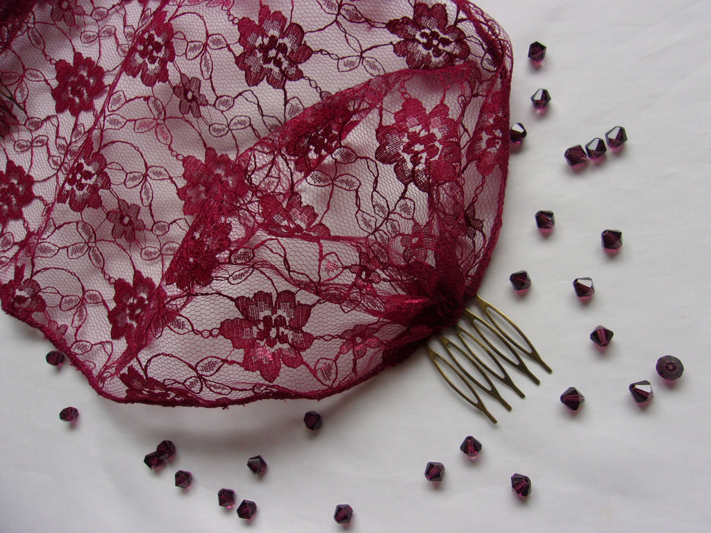 Burgundy Marsala Wine Lace Birdcage Bandeau Brides Wedding Bridal Veil - Burlesque Gothic Vintage Boho Head Scarf- Made to Order