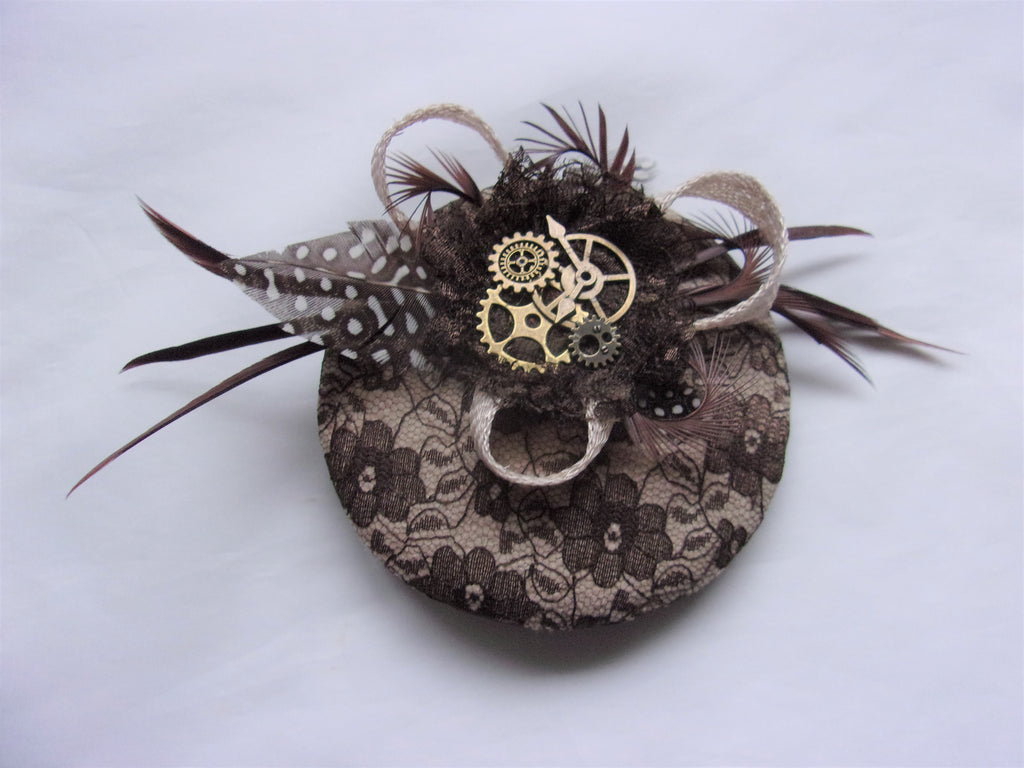 Brown & Beige Cream Steampunk Feather Cogs Cocktail Hat Fascinator Mini Headpiece Wedding Ready Made