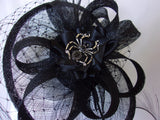 Black Spider Saucer Hat Dramatic Merry Widow Veiled Sinamay and Curl Feather Fascinator Wedding Halloween Gothic - Made to Order