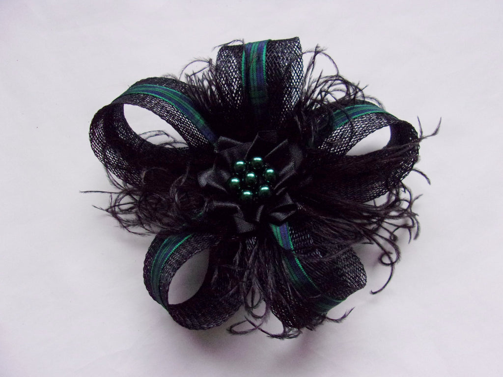 Black Sinamay Loop with Blackwatch Tartan Mini Fascinator Hair Clip Headpiece with Crystals or Pearls - Scottish Burns Night - Made to Order