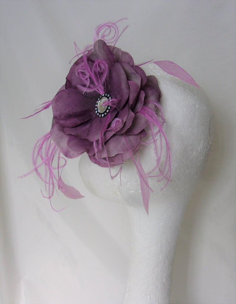 Large Amethyst & Grey Flower Feather Hair Clip Accessory Wedding Vintage Prom