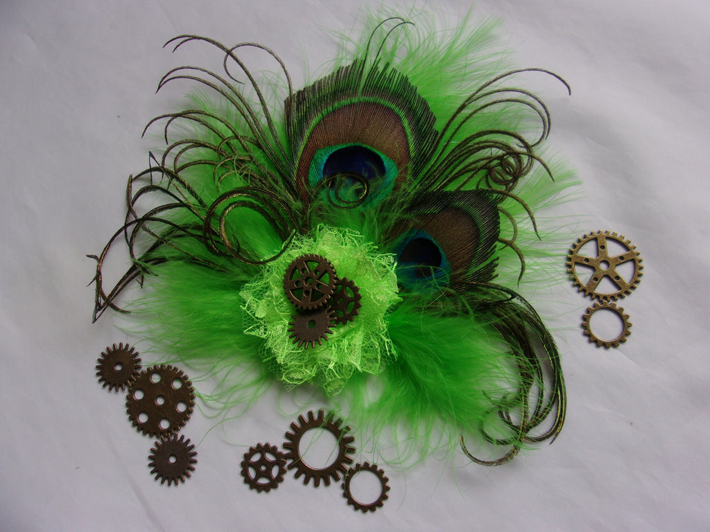 Lime Green Hair Clip Fascinator - Bright Apple Harlequin Fluff Feather Peacock & Brass Cogs Steampunk Wedding Clip Headpiece